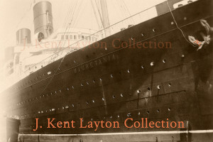 This original snapshot was taken on July 16, 1932, as the Mauretania prepared to depart on one of her cruises to the Caribbean. (J. Kent Layton Collection)