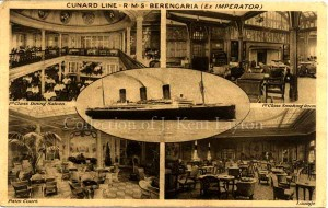 This postcard of the Berengaria is from mid-1923. It was hence one of Cunard's earliest advertisements for their new acquisition. Four of the ship's interior spaces are shown, with a starboard profile. (J. Kent Layton Collection)