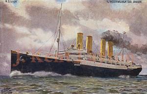The start of the German threat, the Kaiser Wilhelm der Grosse of 1897. (J. Kent Layton Collection)