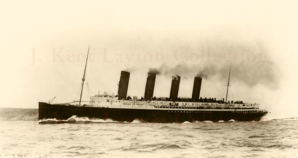 A photograph of the Lusitania steaming off the coast of Ireland, just a few miles from where she was eventually sunk. In this photograph, a relatively rare view held in my personal collection, the ship is steaming west-bound; the photo was taken around 1911-1912. (J. Kent Layton Collection)