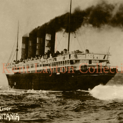 The Lusitania charges ahead, leaving a turbulent wake behind her. (J. Kent Layton Collection)