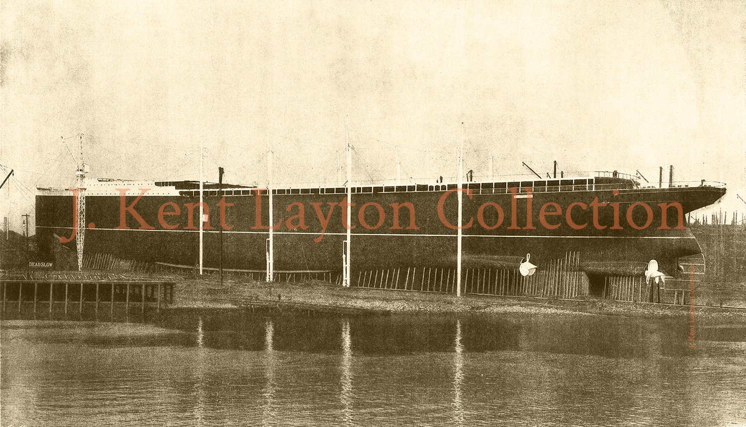 Viewed from the Clyde, the Lusitania dwarfs the river in this view of the ship shortly before she was ready to launch. (J. Kent Layton Collection)