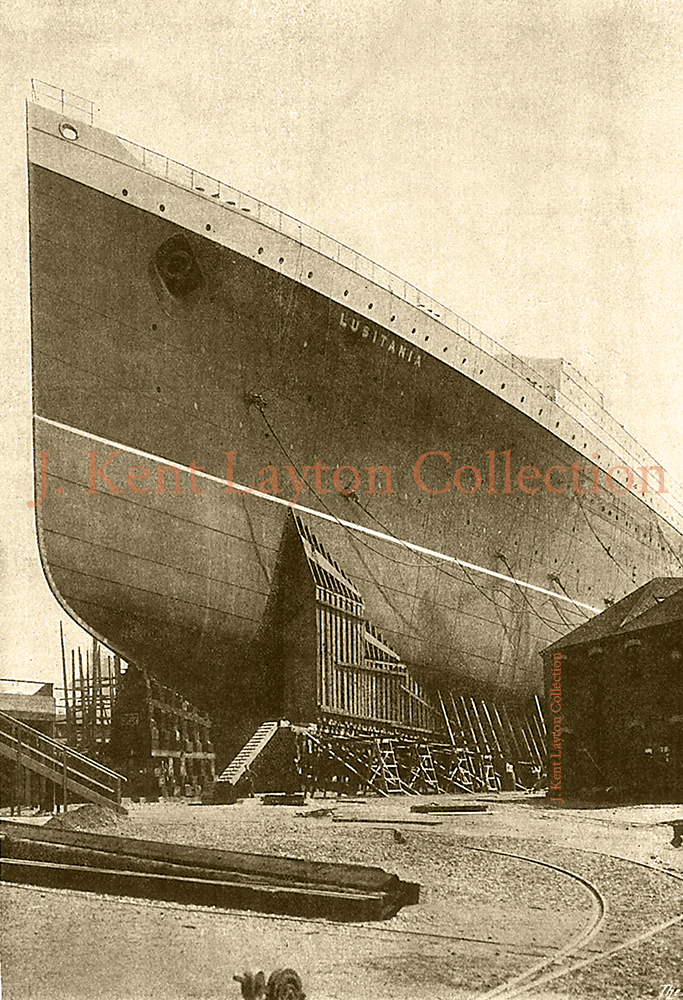 The mighty bow of the Lusitania stands poised on the ways. (J. Kent Layton Collection)