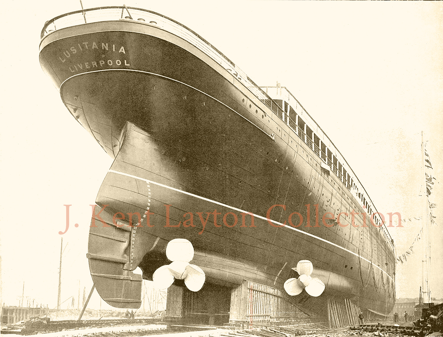 This stern view of the Lusitania gives some sense of her actual size. Notice the people standing on the ways below her. (J. Kent Layton Collection)