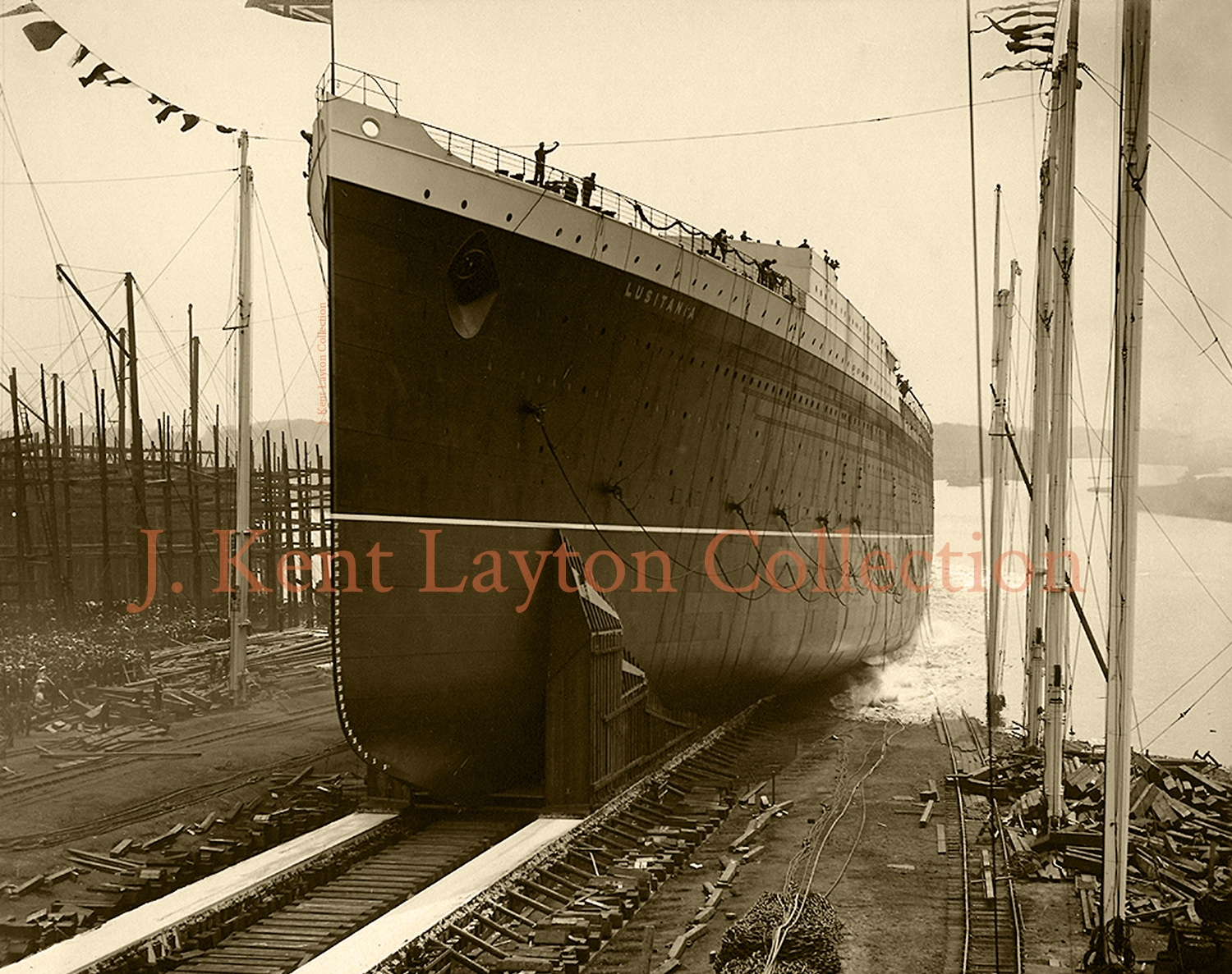 June 7, 1906: The Lusitania is launched. (J. Kent Layton Collection)