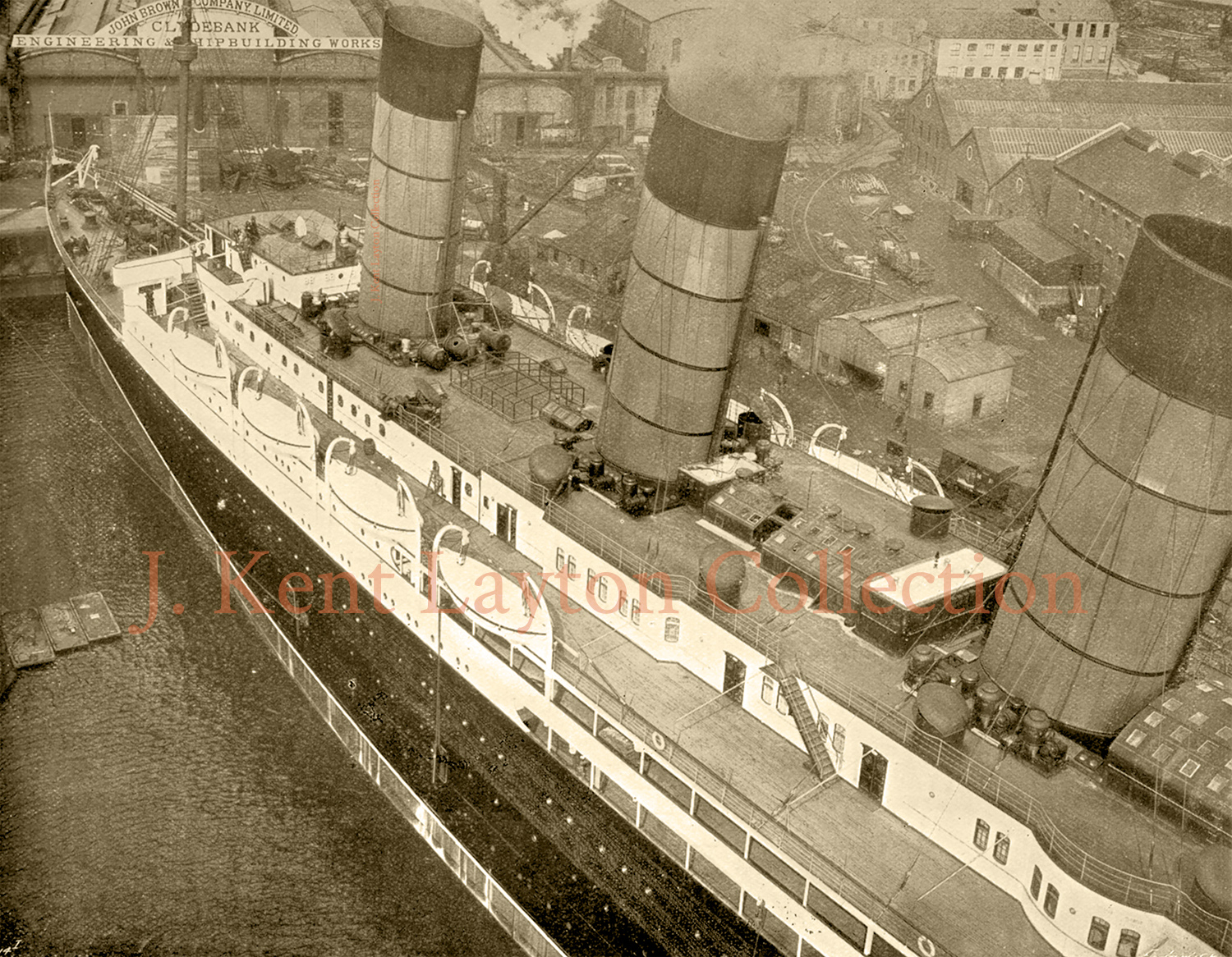 Viewed from atop the fitting out crane, this view looks down on the upper decks of the Lusitania. This and the following view were taken shortly before the liner departed the shipyard for the first time. (J. Kent Layton Collection)