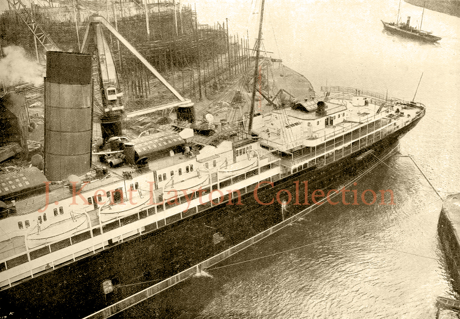 This view, taken from the same spot as the preceding photo, shows the after decks of the Lusitania. (J. Kent Layton Collection)
