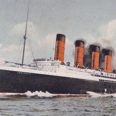 The Lusitania thunders forth at high speed during her trials in this colorized view. (J. Kent Layton Collection)