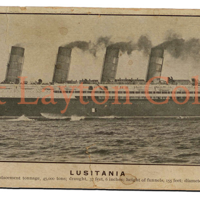 This weathered, oversized post card, a favorite from my collection, shows the same port side profile. (J. Kent Layton Collection)