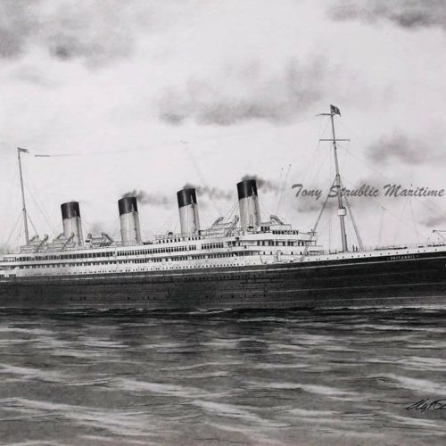As intended: the White Star liner RMS Britannic as she would have appeared as an ocean liner. (Courtesy Tony Strublic)