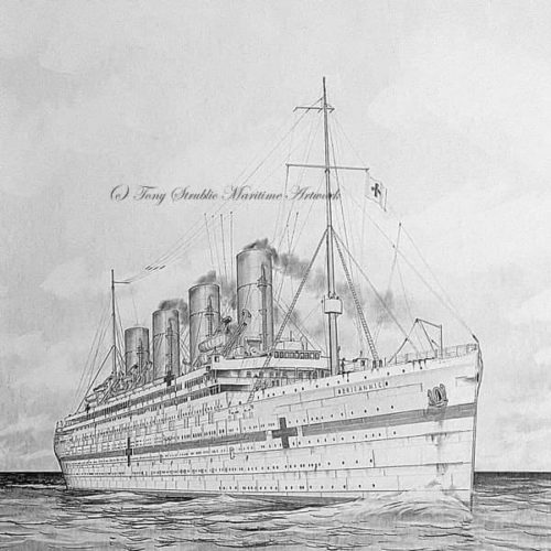 A fine starboard-bow view of the Hospital Ship Britannic. (Courtesy Tony Strublic)