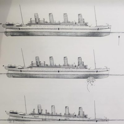 In 2001, these drawings were produced in order to illustrate how the Britannic sank. They first appeared in Simon Mill's book. (Courtesy Neil Egginton)