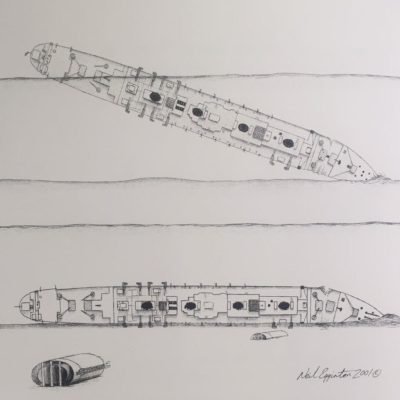 The final two drawings illustrating the sinking of the Britannic, made in 2001 for Simon Mills' book. (Courtesy Neil Egginton)