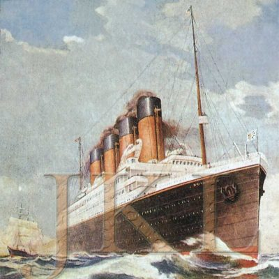 Before the Great War started, White Star's publicity department began to advertise the new liner. This illustration shows the liner as she would have appeared, had she ever been completed for peacetime service. (J. Kent Layton Collection)