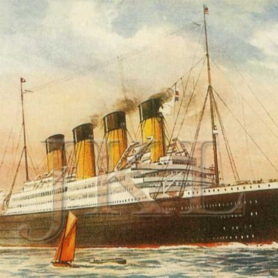 An early artist's depiction of the Britannic in her intended civilian scheme. (J. Kent Layton Collection)