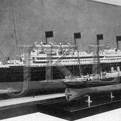 Two builders' models, one of the 1914 Britannic [at left], and one of her namesake, the first Britannic, on the right. (J. Kent Layton Collection)