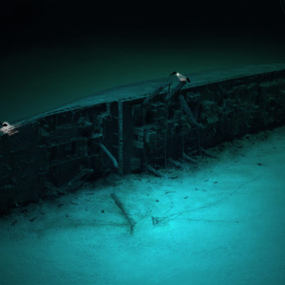 Divers explore the wreck of the Britannic. (Courtesy William Barney)