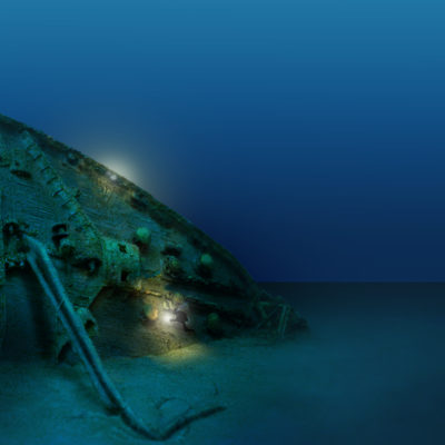 Divers explore the bow of the Britannic's wreck. (Courtesy William Barney)