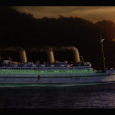 Britannic steams east into the sunrise, perhaps on her last morning, 21 November 1916. (Courtesy William Barney)