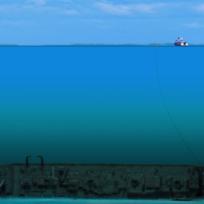 This shows the wreck of the Britannic and the relative depth of the water where she went down. (Courtesy William Barney)