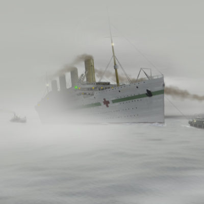 Britannic under tow on her formal trials, 8 December 1915. (Courtesy William Barney)
