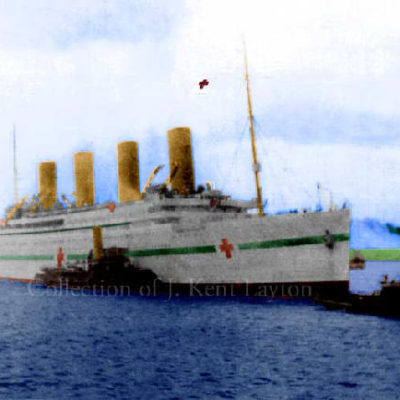 This is a copy of the preceding photograph, of Britannic entering Southampton, colorized by the author. (J. Kent Layton Collection)