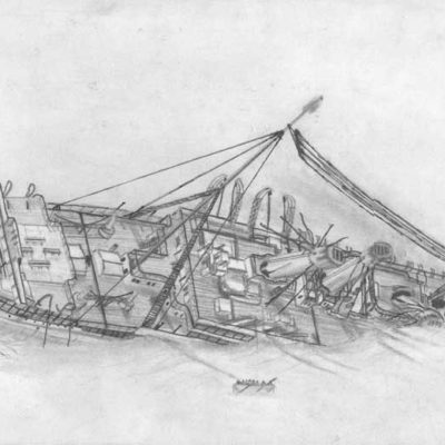 The Britannic sinks in the Kea Channel, 21 November 2916. (Sketch ©2005 by Chris Mazzella. Not for re-use without permission)