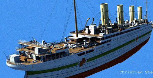 This image shows the Britannic's stern-starboard quarter, looking forward, and clearly shows the changes made to her aft sections from the design of her sisters.