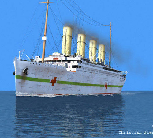 HMHS Britannic at sea.