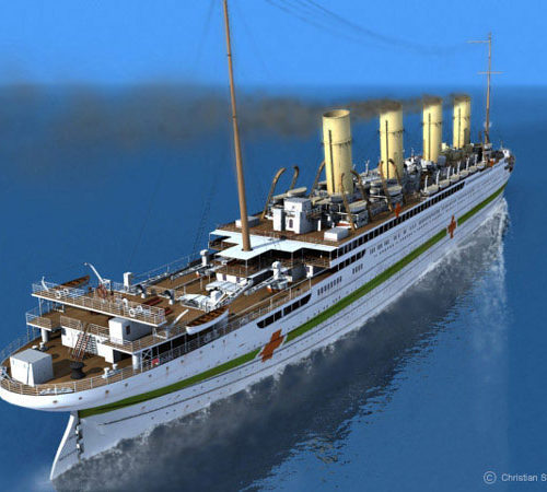 This image, a similar angle to the first image, shows the Britannic's starboard side as she steams serenely through the ocean.