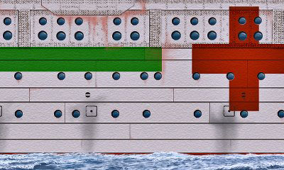 A detail of Britannic's starboard shell plating and hospital ship paint scheme. (Courtesy William Barney)
