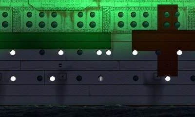 Britannic's starboard hull and paint scheme, illuminated at night to clearly identify the ship as a noncombatant. (Courtesy William Barney)