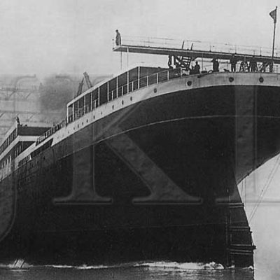 The launch of Harland & Wolff Yard No. 433, the Britannic. (J. Kent Layton Collection)