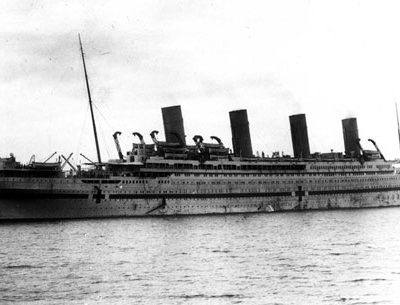 The Britannic arrives in Mudros Harbor, 3 October 1916. She would be sunk just the following month. (J. Kent Layton Collection)
