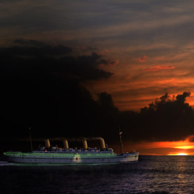Britannic steams west into the sunset. (Courtesy William Barney)