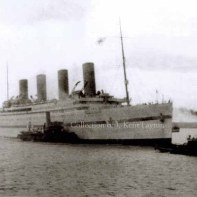 On 9 January 1916, the HMHS Britannic enters Southampton for the first time, having just completed her first voyage as a hospital ship. (J. Kent Layton Collection)