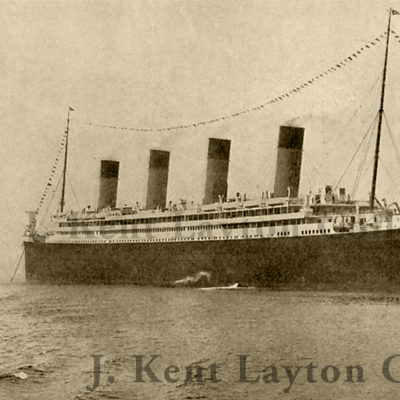 The Olympic arrives in Liverpool, England for a brief visit on 1 June 1911. She would thereafter proceed to Southampton, later to begin her maiden voyage. (J. Kent Layton Collection)