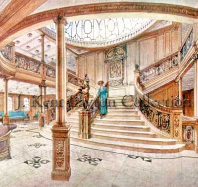 The main stairs on any ship is the prime way of moving through the various passenger levels, and many ships had grand First Class staircases. Those on Olympic and Titanic, however, stood apart. (J. Kent Layton Collection)
