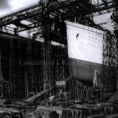 In this photograph, the Olympic and Titanic stand side by side on the stocks at Harland & Wolff shipyards in Belfast, Ireland. It is October 1910, and Olympic is ready for launch. (J. Kent Layton Collection)