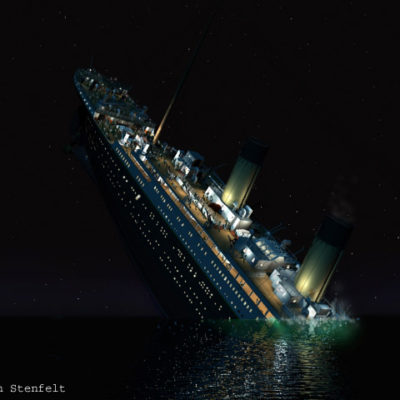 Titanic's stern rears up into the night.