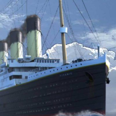 Titanic steams proudly across the North Atlantic.