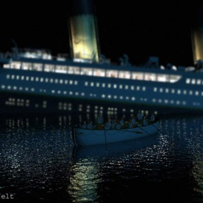 A lifeboat pulls away from Titanic's starboard side.
