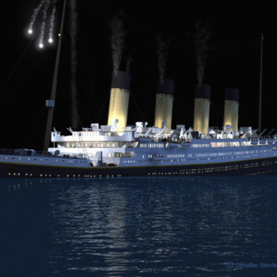 A rocket bursts over Titanic in a desperate attempt to signal for help.