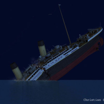 The lights fail as Titanic breaks apart.